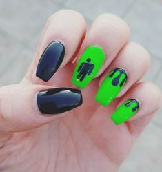 nail nail acrilico Free idea in 2020 (With images) Punk Nails, Edgy Nails, Grunge Nails, Dope Nails, Swag Nails, Art Nails, Halloween Acrylic Nails, Acrylic Nails Coffin Short, Best Acrylic Nails