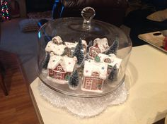 Valerie Parr Hill lighted gingerbread village ornaments, under a cake dome.