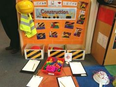 Construction theme mark making Eyfs Classroom, Classroom Displays, Classroom Ideas, Play Based Learning, Early Learning, Construction Area Ideas, Role Play Areas, Writing Area, Kindergarten