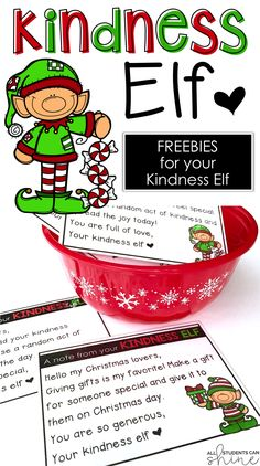 kindness elf | elf freebie | elf on the shelf | elf in the classroom | classroom elf | elf notes | kindness elf notes | random acts of kindness in the classroom | random acts of kindness