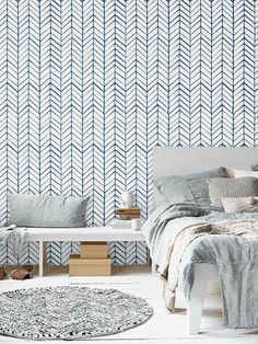 Self adhesive vinyl temporary removable wallpaper, wall decal – Chevron pattern print – 026 WHITE/ NAVY - Home Decoraiton Wallpaper Wall, Temporary Wallpaper, Adhesive Wallpaper, Adhesive Vinyl, Modern Wallpaper, Wallpaper Ideas, Herringbone Wallpaper, Chevron Wallpaper, Penny Tile Floors