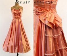 50s Evening Gown XS / 1950s Satin Party Dress / by CrushVintage, $240.00