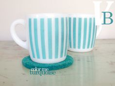 Hazel Atlas mugs with the turquoise stripes, so pretty!