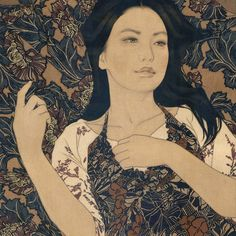 Using the simplicity of indian ink and linen canvas Ikenaga Yasunari has captured a simple serenity in the the faces of his female portraits.This calm sens