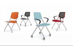 AllSteel Multi-Purpose Seek Seating:  (from left to right)  Polymer Back Armless Chair with Polymer Seat and Casters - K-PPCA// Mesh Back Chair with Arms, Polymer Seat, and Glides - K-MPGA// Polymer Back Chair with Arms, Polymer Seat and Glides - K-PPGO// Mesh Back Chair with Arms, Upholstered Seat, and Casters - K-MUCO #office #furniture #officechair #seating #design