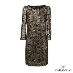 Vestido florado en acabado dorado de la Colección Femenina de Caramelo