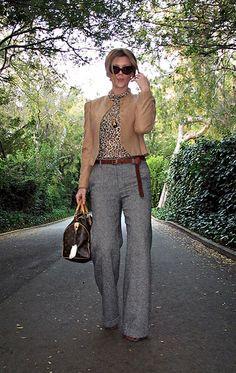 cat eye sunglasses+camel jacket+salt and pepper tweed wide leg pants+leopard print t shirt+louis vuitton bag+long belt+sharp!