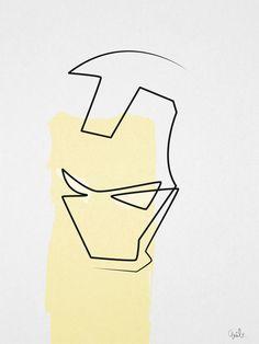 Quibe One Line Minimal Illustrations - Iron Man Iron Man Logo, Iron Man Poster, Iron Man Art, Avengers Tattoo, Marvel Tattoos, Iron Man Drawing, Line Drawing, Little Tattoos, Tattoos For Guys