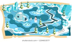 Snow Landscape Game Maps with Path and Blue Ice Land, Snow House, Penguin, Ice Beam and Spruce Trees Platformer Vector Illustration