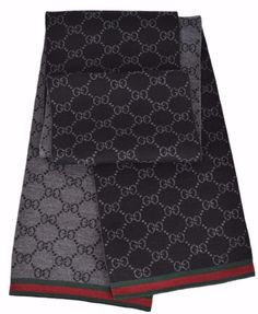 c98caa7d6ee3b New Gucci 325806 Wool Black Reversible GG Guccissima Red Green Stripe Scarf