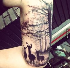 Family Tree Tattoo For Men Half Sleeves Tatoo Trendy Ideas Forest Tattoos, Nature Tattoos, Body Art Tattoos, Tattoo Ink, Stag Tattoo, Henna Tattoos, Tattoo Wolf, Octopus Tattoos, Samoan Tattoo