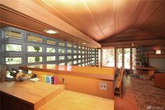Buying a Frank Lloyd Wright original would be like trying to buy a priceless museum artifact.On Vashon you can live in a house inspired by his ideas for $374,000. Vashon Island, Usonian, Organic Architecture, Frank Lloyd Wright, Cottage, Museum, Inspired, The Originals, Live