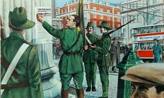 1916 Easter Rising - Patrick Pearse and the Irish Volunteers putting up posters of the Proclamation of the Irish Republic on the streets of Dublin. Irish Republican Brotherhood, Irish Republican Army, Irish Rebellion 1916, Ireland 1916, Dublin Ireland, Soldier Songs, Catholic Feast Days, Irish Independence, Easter Rising