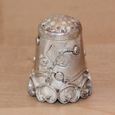 "Vintage Sterling Silver Hand Work Thimble RARE 1"" with Hallmark"