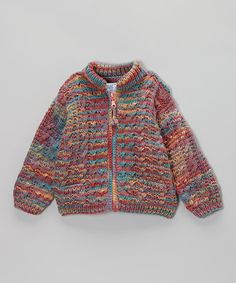Take a look at this Red & Teal Wool-Blend Zip-Up Sweater - Toddler & Girls by The Sweater Venture on #zulily today!