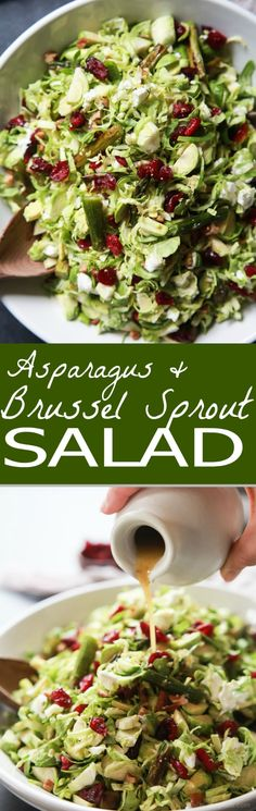 Asparagus & Brussel Sprout Salad topped with Honey Dijon Dressing - a tasty healthy easy to make salad done in 30 minutes that's sure to be a favorite! Perfect for the holidays or a fresh start to the new year at only 162 calories! Quick Easy Dinner, Quick Dinner Recipes, Easy Healthy Dinners, Easy Healthy Recipes, Quick Easy Meals, Vegetarian Recipes, Cooking Recipes, Delicious Recipes, Tasty