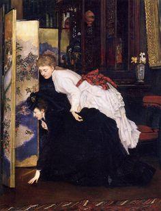 James Tissot (1836-1902), Mujeres jóvenes mirando los objetos japoneses