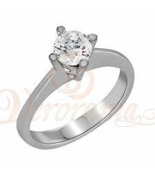 Μονόπετρo δαχτυλίδι Κ18 λευκόχρυσο με διαμάντι κοπής brilliant - MBR_067