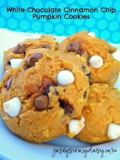 White Chocolate Cinnamon Chip Pumpkin Cookies (Super Easy Three or Four Ingredients) - Jasey's Crazy Daisy