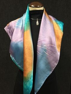 Pastel Palm - Hand Painted Silk Scarf / Wrap