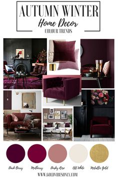 Autumn Winter colour color trends interior home decor Burgundy mulberry dark berry cherry plum velvet accent chair black walls cushion blankets brass gold accessories