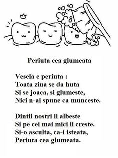 Poezie - Periuta cea glumeata Health Education, Kids Education, Kindergarten Activities, Preschool Activities, Kids Poems, Teacher Supplies, Youth Activities, Nursery Rhymes, Projects For Kids