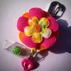 Padded Felt Floral Flower Retractable Id Badge Reel on Etsy, $15.50