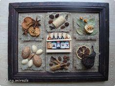 Картина панно рисунок Аппликация Моделирование конструирование Десертное панно для кухни Материал природный Мешковина Продукты пищевые фото 1