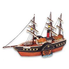 "Department 56, Dickens' Village series,""HMS Britannia"", Queens Port. #58591. Introduced 2004 and retired 2006. Battery operated. Size: 9.25"" x 3.75"" x 6.5"".  Hand-crafted and hand-painted porcelain accessory figurine. Coordinates with item #56.58727 ""Customs House, Queens Port"" lighted building."