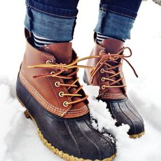 Standard New England winter/ muddy ground footwear - Bean Boots. Shame they are in fashion now; women's boots are practically sold out until February.