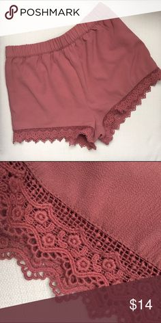 Rose pink lace trim shorts Beautiful rose quartz color! Excellent condition and great quality. Have more of a looser fit and look cute with a basic tank. Can be dressed up or down. From Forever 21 Zara Shorts
