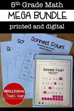 5th Grade Math Games, Teaching 5th Grade, Math Class, Fun Math, Teaching Math, Math Activities, Teaching Resources, Middle School, High School