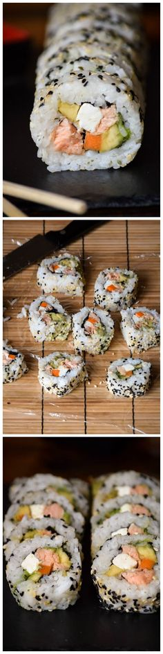 Easy Smoked Salmon Philadelphia Roll Sushi - When you're craving sushi, make your own!!