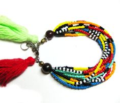 Colorful Beaded African Bracelet - Seed Bead Bracelet - Multi Strand Bracelet - Tribal Bracelet - Tassel Bracelet on Etsy, $18.00