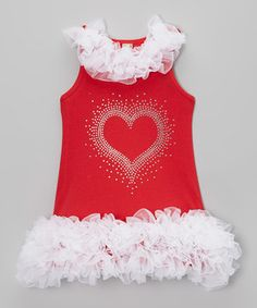 Another great find on #zulily! Sparkle Baby Sparkle Red & White Sparkle Heart Ruffle Dress - Infant, Toddler & Girls by Sparkle Baby Sparkle #zulilyfinds