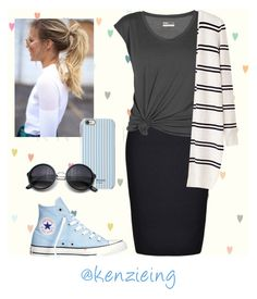 """Periwinkle Chuck's"" by kenzieing on Polyvore featuring Ally Fashion, Lija, Converse, Isaac Mizrahi, converse, chucktaylors, modestishottest and ApostolicFashion"