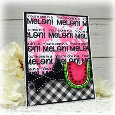 Handmade card by Julee Tilman featuring products from Sweet 'n Sassy Stamps. Watermelon Images, One In A Melon, Square Card, Summer Fruit, My Stamp, Cool Cards, I Card, Sassy, Stamps