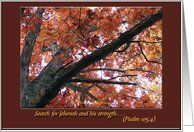 Psalm 105:4, Search for Jehovah, Sympathy Card by Greeting Card Universe. $3.00. 5 x 7 inch premium quality folded paper greeting card. Sympathy cards & photo Sympathy cards from Greeting Card Universe will bring a smile to your loved ones' face. Show your loved ones you care with a custom paper card to make the occasion memorable. Look no further than Greeting Card Universe for your Sympathy card needs. This paper card includes the following themes: Jehovah, ...