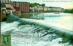 Brunswick, Maine postcard from 1908 of the Cabot Mill along the Androscoggin River. Description from pinterest.com. I searched for this on bing.com/images
