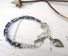 Frissonnements : bracelet 3 rangs lapis perles par annemarietollet