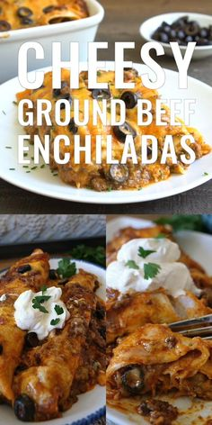 Cheesy Ground Beef Enchiladas are loaded with deliciously seasoned ground beef, two types of cheese and baked until hot and bubbly. Ground Beef Burritos, Ground Beef Enchiladas, Cheesy Enchiladas, Enchilada Casserole Beef, Enchilada Recipes, Healthy Chicken Recipes, Cooking Recipes, Budget Cooking, Oven Recipes
