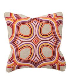 Look what I found on #zulily! Purple & Orange Artista Square Linen Throw Pillow #zulilyfinds