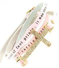 Pink Footprints bracelet.Gorgeous wrap bracelet!