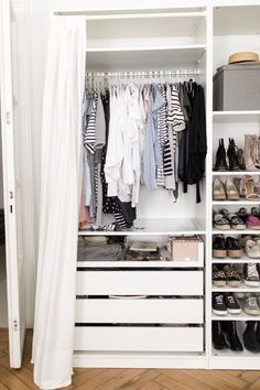 52 ideas nursery closet organization ikea pax wardrobe for 2019 Bedroom Storage Ideas For Clothes, Bedroom Storage For Small Rooms, Small Space Bedroom, Small Spaces, Ikea Pax Closet, Ikea Closet Organizer, Ikea Pax Wardrobe, Closet Organization, Closet Office