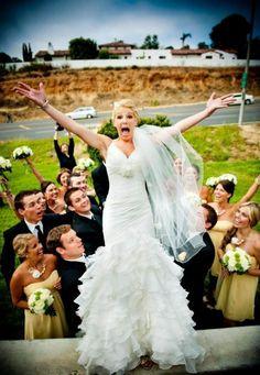 stagediven voor originele trouwfoto's te nemen
