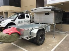 time to back it up under the slide on camper. Steel, trailer, 4wd, diy, duragal, galvanized, galvanised, camper, expedition, hitch, drawbar, custom, built, home, made, touring, traveling, hunting, camping, pop up, awning,
