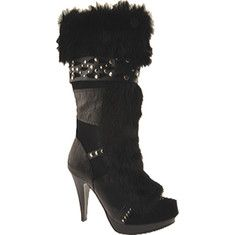 This stiletto platform boot features rabbit fur accents with metallic studs, crocodile-embossed leather details, a full inside zipper and a gloss heel.
