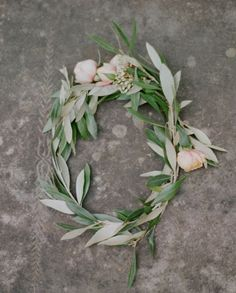 flowers + olive leaves. Flower girl crowns