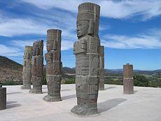 Los Atlantes son monumentos monolíticos pertenecientes a la Cultura tolteca, estos se encuentran en la zona arqueológica de Tula, Estado de Hidalgo, México , también denominada como Tollan-Xicocotitlan,  miden poco más de 4,5 metros de altura, labrados en piedra basáltica, son representaciones de guerreros Toltecas, ataviados con un pectoral de mariposa, Átlatl (debido a que poseen esta arma se le llama atlantes), dardos, un cuchillo de pedernal y un arma curva.