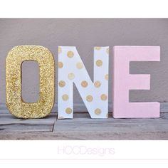 Set of 3 Combo finished 8 Or 12 Spelling the by HOCDesignsMarket Pink Gold Birthday, Gold First Birthday, Baby Girl 1st Birthday, Princess Birthday, Birthday Bash, First Birthday Parties, Birthday Ideas, Birthday Letters, Minnie Mouse Party